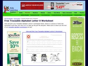 Traceable Alphabet: Letter O Worksheet Worksheet