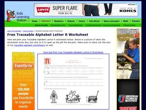 Traceable Alphabet: Letter R Worksheet Worksheet