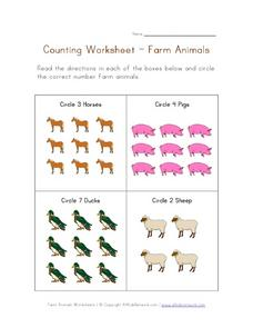 Counting Worksheet-- Farm Animals Worksheet