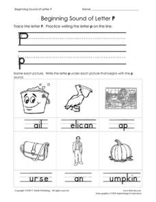 Beginning Sound of Letter P Worksheet