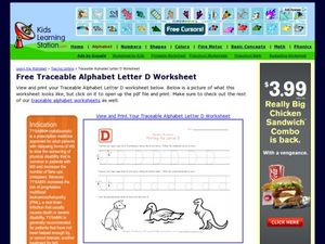Traceable Alphabet Letter D Worksheet Worksheet