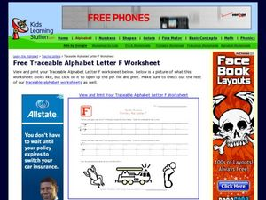 Traceable Alphabet Letter F Worksheet Worksheet