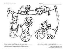 Count and Color-Circus Pups Worksheet