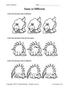 Same or Different- Color the Dinosaur Worksheet