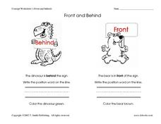 Concept Worksheet: Front and Behind Worksheet
