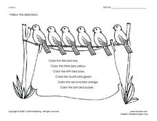Following Directions- Coloring Page Worksheet for
