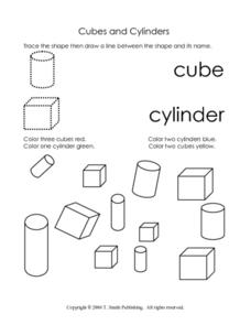 Cubes and Cylinders Worksheet