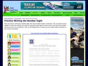 Practice Writing the Number 8 Worksheet