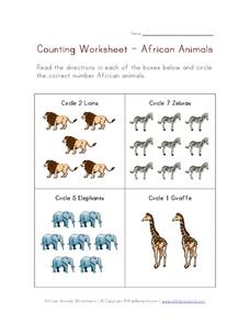 Counting Worksheet -- African Animals Worksheet