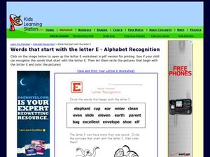 Words That Start with the Letter E - Alphabet Recognition Worksheet