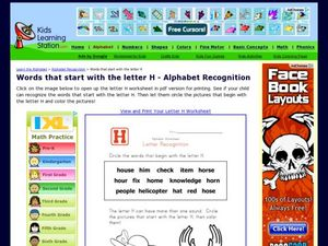 Words That Start with the Letter H - Alphabet Recognition Worksheet