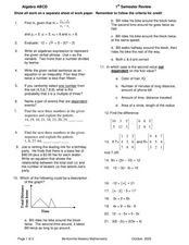 Algebra Semester Review Worksheet