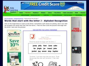 Words That Start with the Letter J - Alphabet Recognition Worksheet