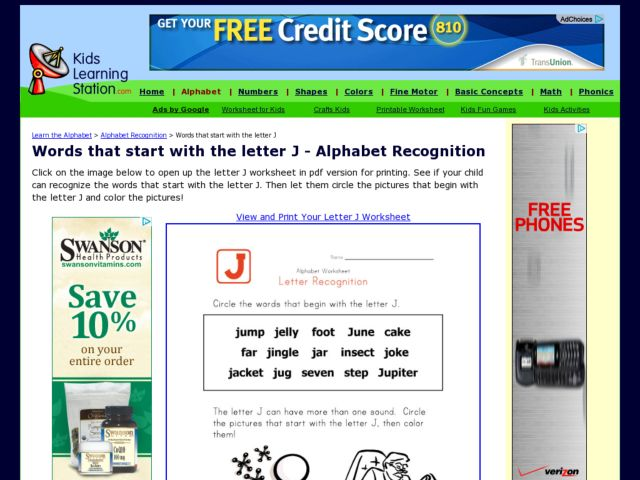 Words That Start with the Letter J - Alphabet Recognition