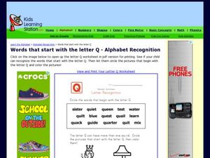 Words that start with the letter Q - Alphabet Recognition Worksheet