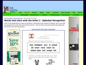 Words that start with the letter I - Alphabet Recognition Worksheet