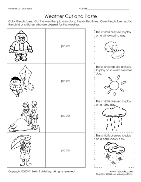 weather cut and paste worksheet for kindergarten 1st grade lesson planet. Black Bedroom Furniture Sets. Home Design Ideas