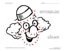 Clown Dot-to-Dot Worksheet