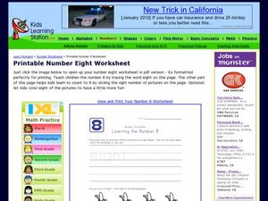 Number Worksheet: Learning the Number 8 Worksheet