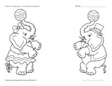 Circus Elephants Playing Ball Worksheet