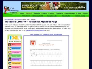 Traceable Letter W - Preschool Alphabet Page Worksheet