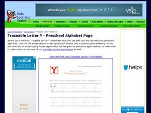 Traceable Letter Y - Preschool Alphabet Page Worksheet