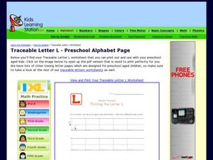 Traceable Letter L - Preschool Alphabet Page Worksheet