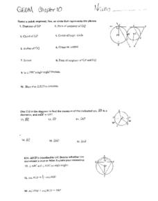 Chapter 10: Parts of a Circle Worksheet