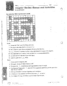 Chapter 2 Review Games & Activities Worksheet