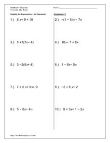 Distributive Property/Combine Like Terms Worksheet