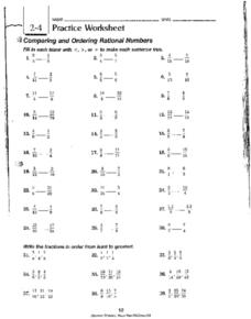 2.4 Practice Worksheet: Comparing and Ordering Worksheet