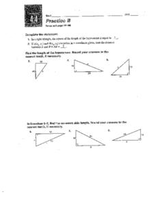 Practice B Pythagorean Theorem Worksheet