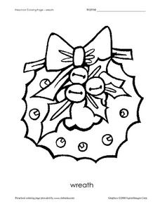 Preschool Coloring Page- Wreath Worksheet for Pre-K
