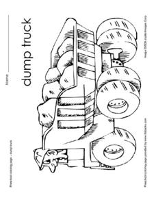 Dump Truck Coloring Page Worksheet