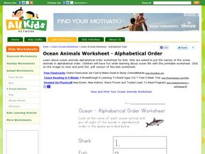 Ocean Animals Alphabetical Order Worksheet
