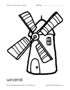 Preschool Coloring Page- Windmill Worksheet