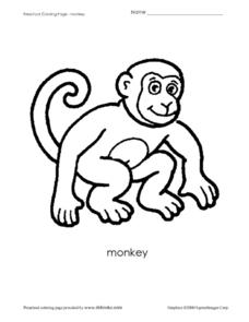Preschool Coloring Sheet - Monkey Worksheet