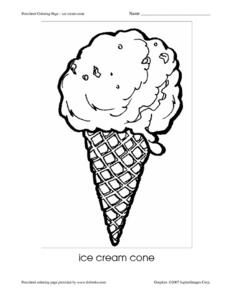 Preschool Coloring Page - Ice Cream Cone Worksheet