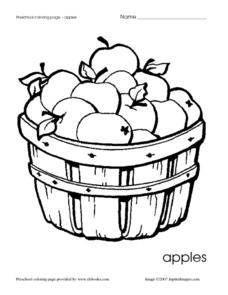Apples Coloring Page Worksheet