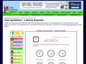 Time Worksheet - 1 Minute Intervals Worksheet