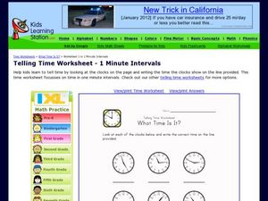 Telling Time Worksheet - 1 Minute Intervals Worksheet
