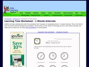 Learning Time to 1 Minute Intervals Worksheet