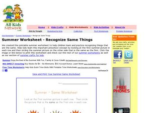 Summer Worksheet - Recognize Same Things Worksheet