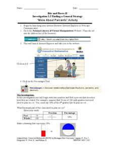 Bits and Pieces - More About Percents - Online Manipulatives Worksheet