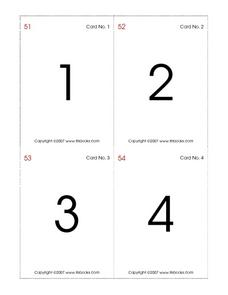 Number Cognition Flash Cards to 100 Worksheet