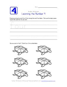 Learning the Number 4 Worksheet