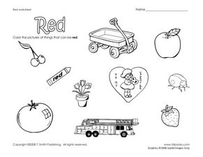 Red: Learning Colors Worksheet