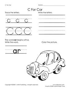 C For Car Worksheet