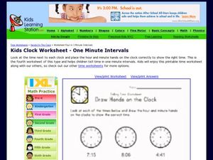Kids Clock Worksheet - One Minute Intervals Worksheet