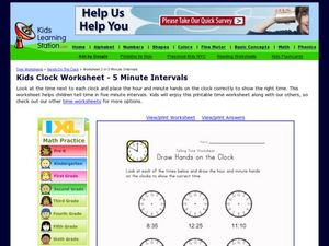 Telling Time Worksheet: Drawing Hands on a Clock Worksheet